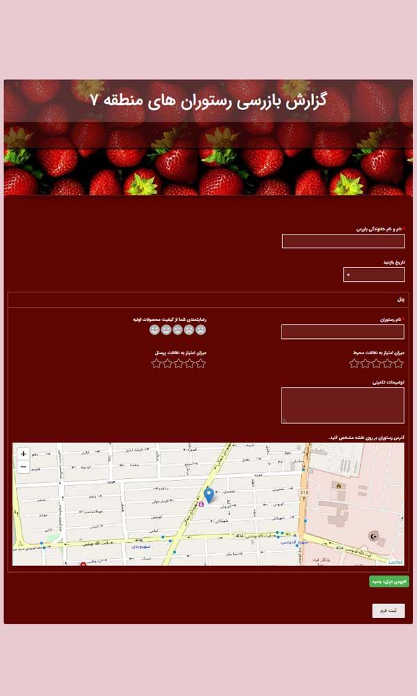 نمونه فرم گزارش آنلاین